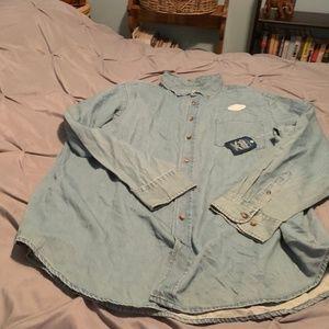 FADED GLORY Men's NWT Blue Denim LS Shirt. Size 2X